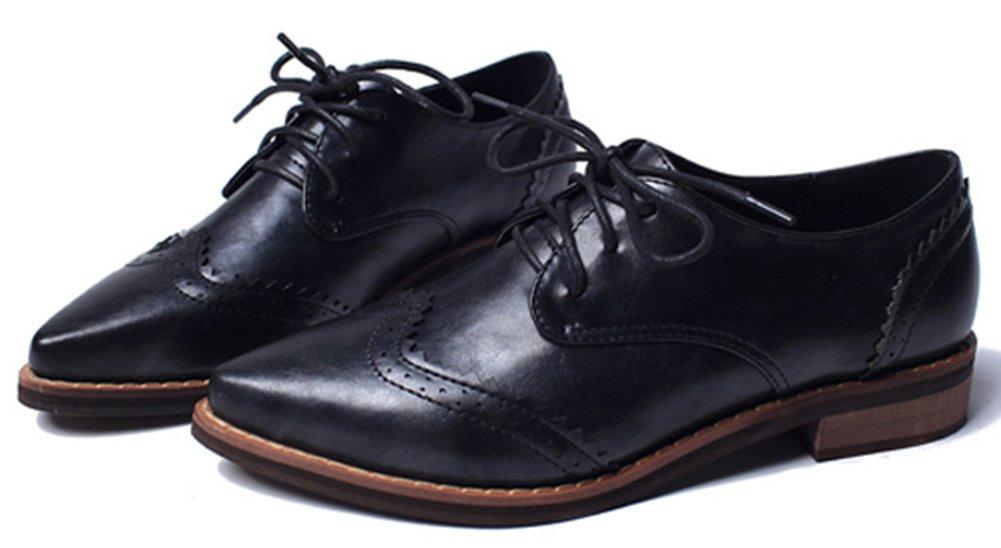 IDIFU Women's Classic Low Chunky Heels Wingtip Lace Up Oxfords Shoes Black 7.5 B(M) US by IDIFU (Image #2)