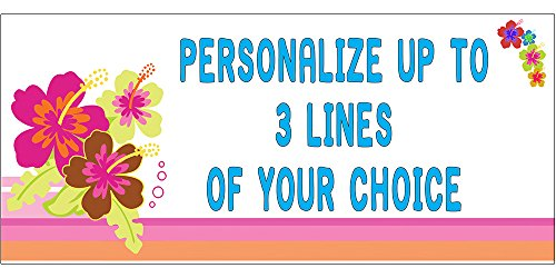 Luau Personalized Birthday Banner - PERSONALIZED FLORA ALOHA BANNER (18