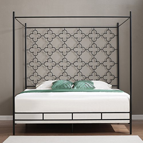 Metal Canopy Bed Frame * Twin Full Queen King Adult Kids Princess Bedroom Furniture * Black Wrought Iron Style Vintage Antique Look * Hang Shear Curtains or Mosquito Nets * Bedding Pillow Not Included (queen)
