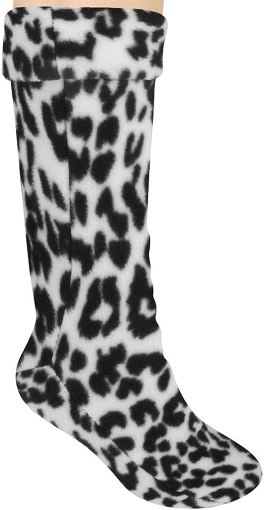 Capelli New York Printed Snow Leopard Fleece Girl Tall Rain boot liner