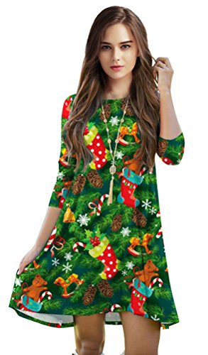 Jescakoo Green Tree Print Party Costume Pleated Tunic Dresses for Women]()