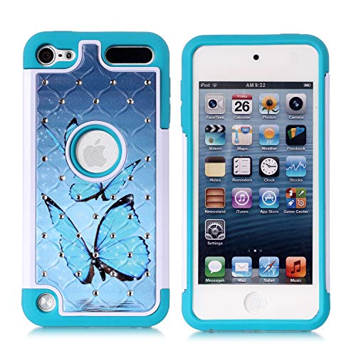 Apple iPod Touch 6th Case, iPod 5th Generation Case, Blue Butterfly Heavy Duty Shockproof Studded Rhinestone Crystal Bling Hybrid Case Silicone Protective Armor for Apple iPod Touch 5 6th Generation (Ipod 5 6th Generation Cases)