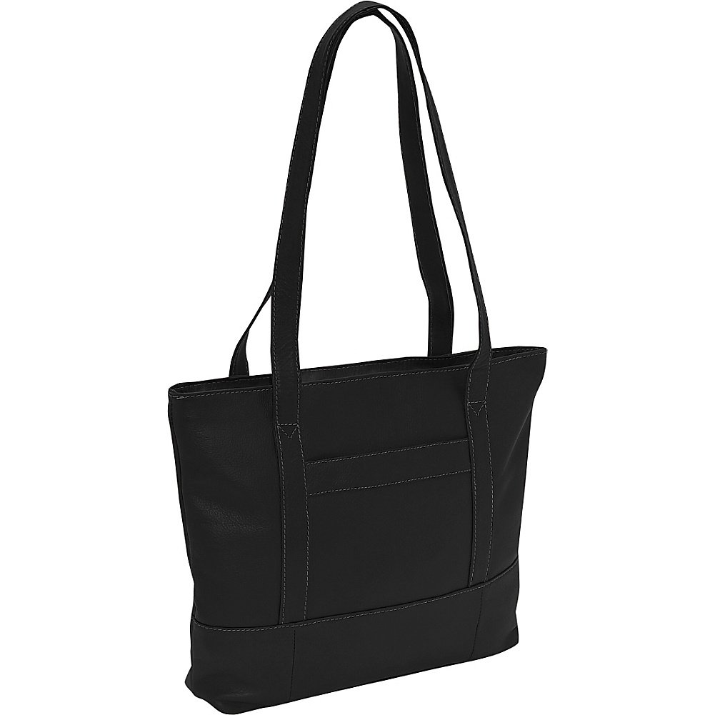 Piel Leather Outdoor Travel Portable Top-Zip Tote Bag - Black