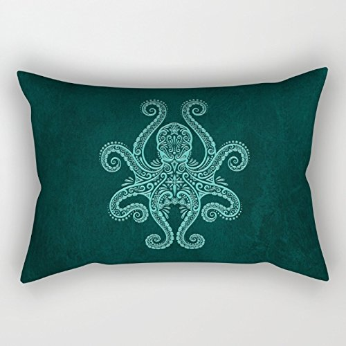 Uloveme Animal Pillow Covers ,best For Bar,office,sofa,outdoor,bar Seat,dinning Room 18 X 26 Inches / 45 By 65 Cm(both Sides) (Navy Blue Flowered)