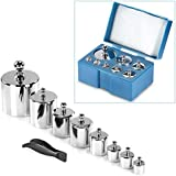 Neewer® 8 Pieces 1000 Gram Stainless Steel Calibration Weight Set (500g 200g 2x100g 50g 20g 20g 10g) with Case and Tweezers for Digital Jewellery Scale Science Lab Weights Educational & Hobby Weighing Scales Mini Pocket Balance Scale