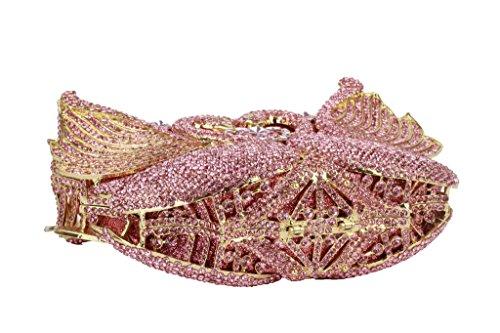 Yilongsheng Mujeres Doble cisne bolsos de embrague con brillantes piedras de cristal Rosa