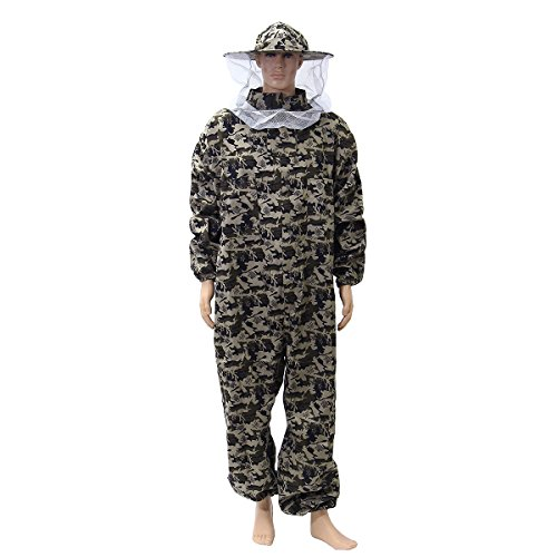 Beekeeping Suit,Hibro Camouflage Bee Keeping Suit with Round Veil Protective Pants Veil Bee Protecting Dress (Large)