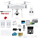 DJI Phantom 4 PRO V2.0 Quadcopter Drone with 1-inch 20MP 4K Camera KIT, 2 Total DJI Batteries, 32GB Micro SDXC Card, Card Reader + Snap on Prop Guards + Range Extender + Charging Hub + Waterproof Case
