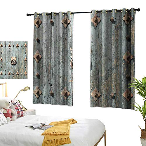 Bedroom Curtain Rustic,European Cathedral with Rusty Old Door Knocker Gothic Medieval Times Spanish Style,Turquoise Living Room Dining Room Kids Youth Room Window Drapes W72 x L63