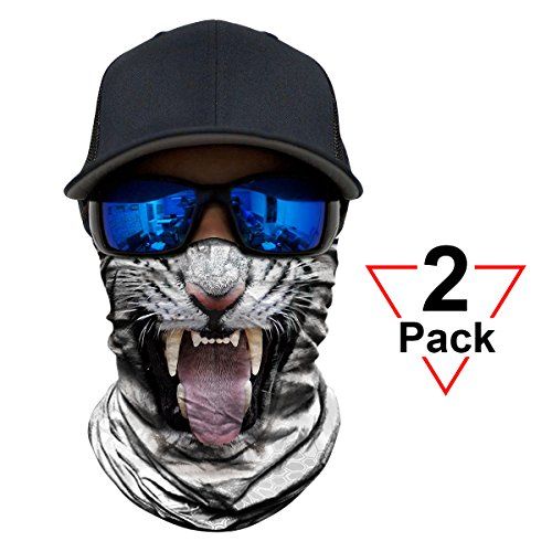 Running Tiger - WWPAI AXBXCX 2 Pack - 3D Animal Neck Gaiter Shield Scarf Bandana Face Mask Seamless UV Protection for Motorcycle Cycling Riding Running Fishing Hiking Conoeing Tiger
