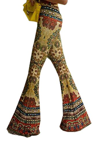 Paisley Print Bell - KLJR-Women Tie-Dye Style Paisley Print 70s Retro Wide Leg Flared Bell Bottoms Pants One US M