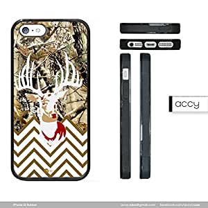 Real Tree Camo Buck Head Thin White Chevron iPhone 5 5s Rubber Silicone TPU Cell Phone Case