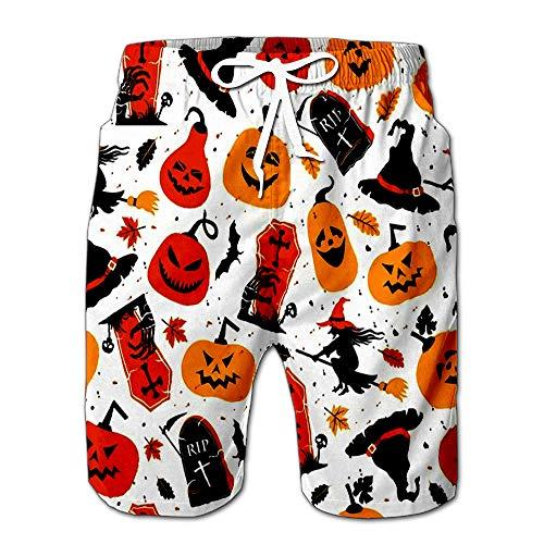 Halloween Orange Festive Scary Collection for Celebretion Men Swimwear Volley Pants Pocket S ()