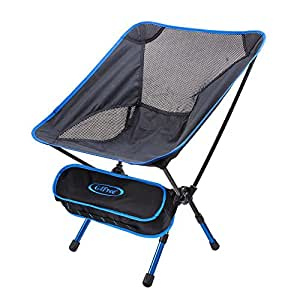G4Free Lightweight Portable Chair Outdoor Folding Backpacking Camping Chairs for Sports Picnic Beach Hiking Fishing (Adjustable Dark Blue)
