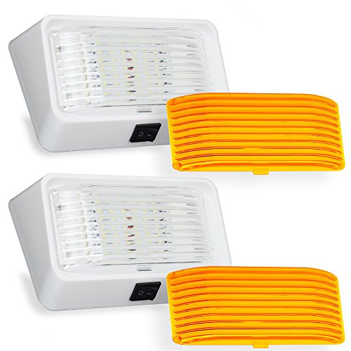 2x LED RV Exterior Porch Utility Light with Switch - 12v 280 Lumen Lighting Fixture. Replacement Lighting for RVs, Trailers, Campers, 5th Wheels. White Base, Clear and Amber Lenses (White, 2-Pack)