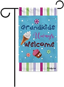 KafePross Grandkids Always Welcome Grandma's Garden Flag Candy Sweet Decor Summer Banner for Outside 12.5x18 inch Print Double Sided