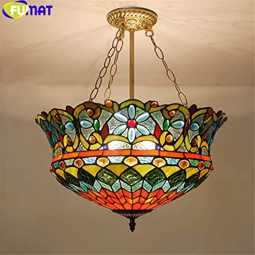 Tiffany Suspension Lamp - FUMAT Tiffany Pendant Lights Flower Uplight LED E26 Stained Glass Pendant lamp Suspension luminaire Color Glass Hang Lamp
