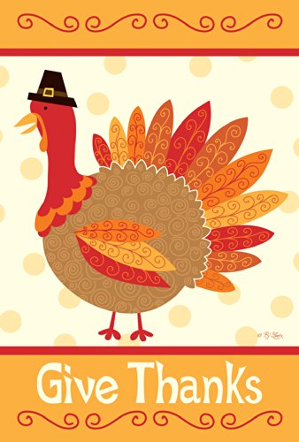 Toland - Turkey Thanks - Decorative Give Thanksgiving Fall Holiday Bird USA-Produced House Flag