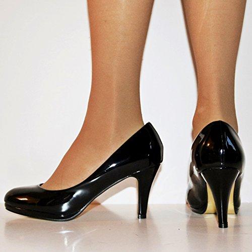 deporte de informal de medio fiesta Styles Negro Zapatillas 9161 de Rock Patentes corte Tacón on Plataforma Tamaño 1W0n8Pc