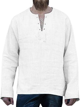 Camiseta De Lino Hombre Manga Larga Cuello En V Blusa Casual ...