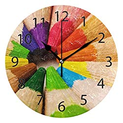 YATELI Wall Clock Shelf Round 10 Inch Diameter Abstract Rainbow Crayon Silent Decorative for Home Office Bedroom