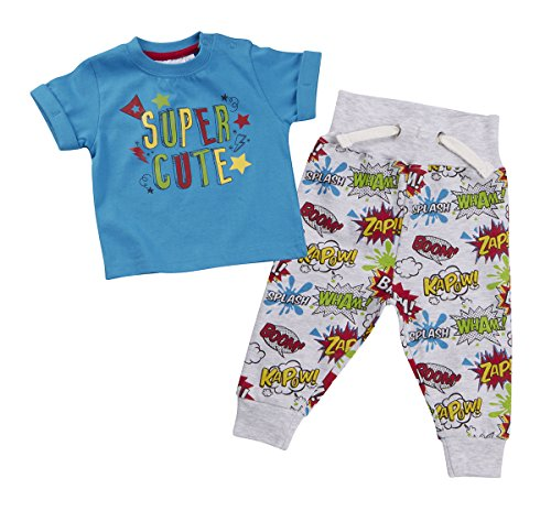 Infant Baby Boys Comic Book Superhero T-shirt & Jogpants 2 Piece Outfit 6-24m UK (Superhero Baby Clothes Uk)