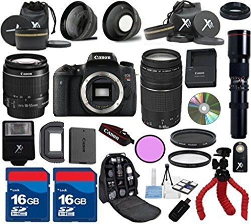 Canon T6s Camera + 18-55mm IS STM Lens + 75-300mm III Zoom + 500mm Preset Lens + Carry case + XIT 3Pc Filter Kit + XIT Wide Angle and Telephoto Lens + 24pc Accessory Kit - International Version