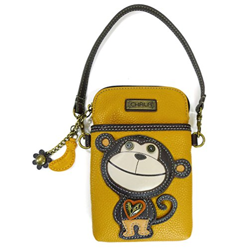 Phone Purse - Women PU Leather Multicolor Handbag with Adjustable Strap Yellow Monkey One Size ()