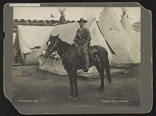 1901 Photo Calamity Jane Photographs shows Martha Jane Burke, popularly known as Calamity Jane, on horseback, wearing an elaborate Western costume, in front of tipis and tents at the Pan-American Expo by Historic Photos