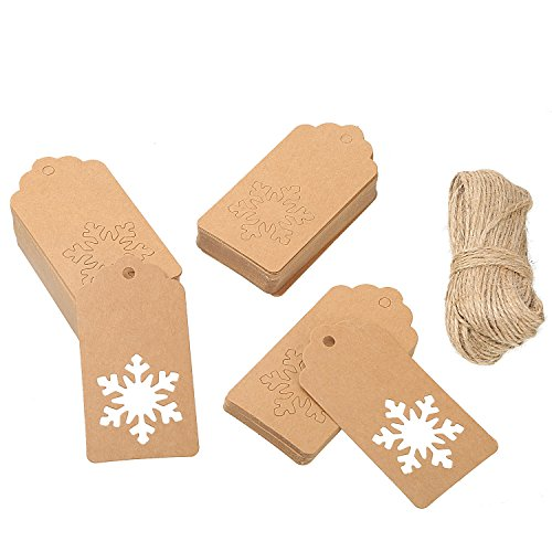 Sumind 100 Pieces Kraft Paper Gift Tags Hollow Snowflake Crafts Hang Label with 30 Meters Twines for Christmas Winter Theme Party Wedding Birthday Gift (Brown)