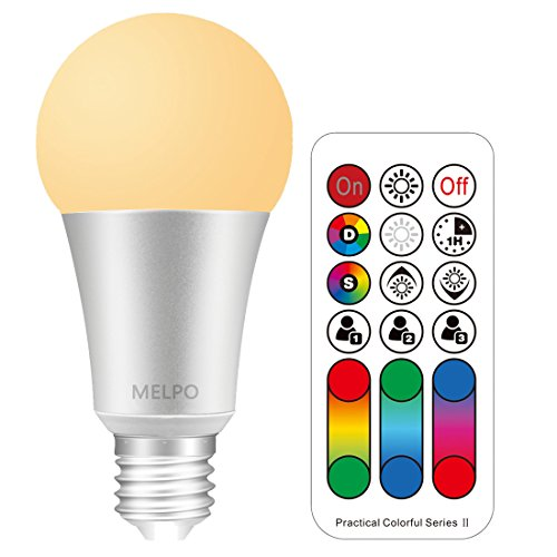 - MELPO 10W LED Color Changing Light Bulbs with Remote Control, 60 Watt Equivalent, RGB Multi Color & Warm White & Dimmable