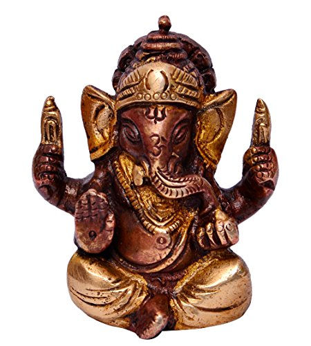 (Purpledip Hindu Religious God Small Statue of Lord Ganesha (Ganapathi or Vinayaka) in Solid Pure Brass Metal with Unique Copper Silver Finish for Table Top, Car Dashboard or Office/Shop Puja (10646))