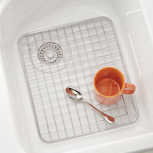 mDesign Modern Kitchen Sink Metal Dish Drying Rack/Mat - Steel Wire Grid Design - Allows Wine Glasses, Mugs, Bowls and Dishes to Drain in Sink - Pack of 2, Steel, Satin