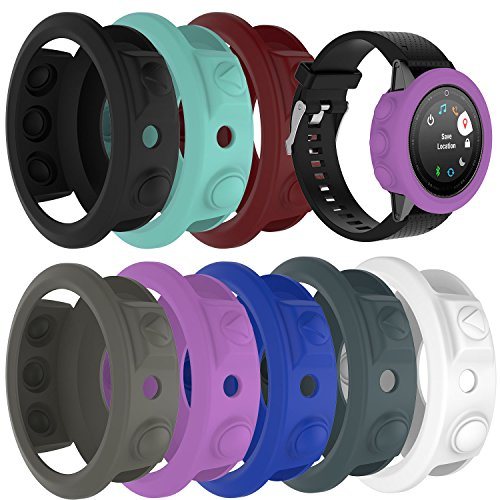 TenCloud 8-Pack Silicone Watch Protector Cover Cases Replacement Compatible Garmin Fenix 5S / Fenix 5S Plus Watch 42mm