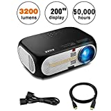 """2018 Newest KUAK HT60 Projector,3200 Lumens 5Inch LCD 1080P HD Multimedia Home Theater LED Video Projector, 200"""" Display 50,000 Hours Life with 2*HDMI 2*USB SD Card VGA AV Input for Fire TV Stick/Laptop/Android Box/DVD Player etc,Black"""