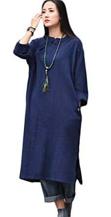 6c7fa4fabb Soojun Women s Vintage Chinese Frog Button Long Sleeve Linen Maxi Dresses  Navy