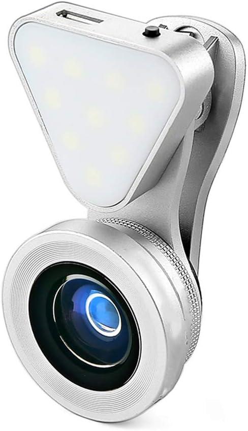 Color : Silver, Size : Small Distortion Lens Fill light ZHAOSHUNLI Mobile Phone Camera Live Beauty Self-Timer Rejuvenation Wide Angle Macro Universal