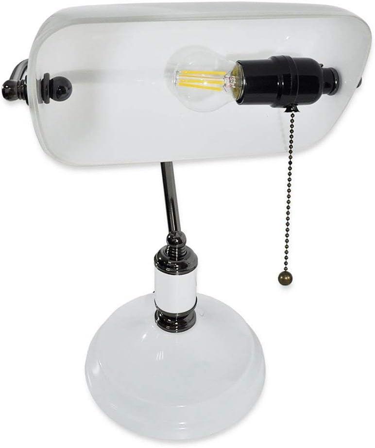 Verde, base in ottone MZStech Lampada da scrivania//Lampada da banco//Lampada da ufficio Paralume in vetro bianco interruttore a strappo e lampadina a filamento LED 4w