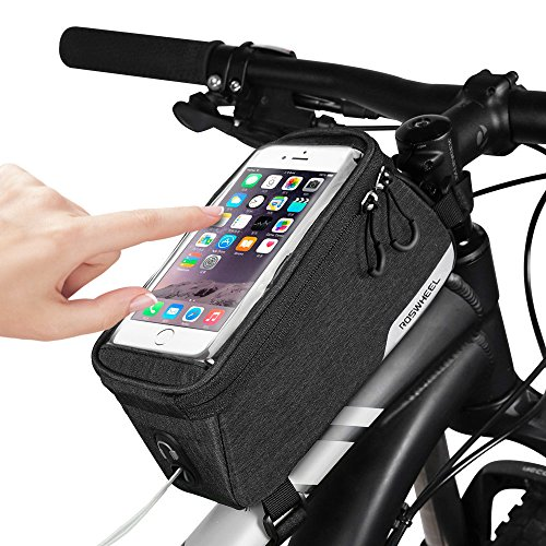 CestMall Bike Bag, Top Tube Bike Frame Bags, 1L Capacity Water Resistant Phone Pouch with Velcro Strap,  5.7inch Touch Screen Bicycle Cell Phone Holder
