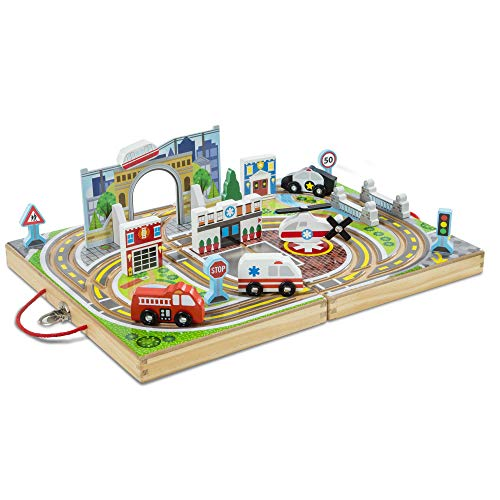 Melissa & Doug Take-Along Town (Wooden Portable Play Surface, 18 Pieces, Great Gift for Girls and Boys - Best for 3, 4, and 5 Year Olds) (Railway Station Carry Set)