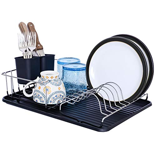 Galashield Dish Drying Rack with Drainer Board and Cutlery Cup