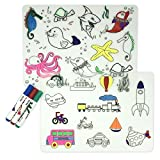 LONGFITE Coloring Kids Placemats Doodle Fun Pad FDA Silicone Table Mat Drawing Painting Non Slip Washable Reusable Children (Marine Animals+Transport Vehicles+3 Markers Markers)