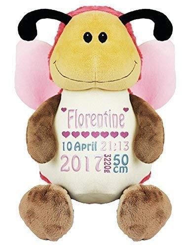 Kuschelschmetterling Kuscheltier rosa individuell bestickt mit Namen Stofftier Geschenk für Geburt Taufe Geburtstag