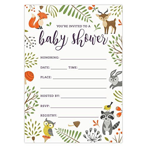 Amazon.com: Woodland Baby Shower Invitations With Owl And Forest Animals.  Set Of 25 Fill In Style Blank Cards And Envelopes. Unisex Design Suitable  For Boy ...