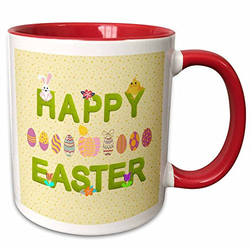 3dRose Beverly Turner Easter Design and Photography - Happy Easter Grass Words, Bunnies, Eggs, Chicks Flowers, Yellow - 11oz Two-Tone Red Mug (Red Easter Grass)