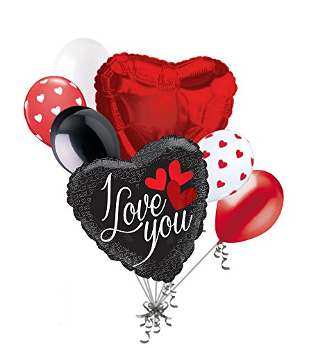 Love Balloon Bouquet (7 pc Sultry Black & Red I Love You Balloon Bouquet Be Mine Happy Valentines Day Sweetest)