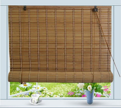 Bamboo Roll Up Window Blind Sun Shade W24