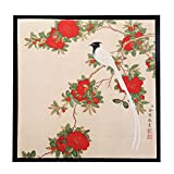 INK WASH Ready to Hang Framed Claborate-style Chinese Red Peony King Painting Bird and Flower Floral Wall Art Paintings on Silk Alike Rice Paper for Living Room Wall Decor 13''x13''