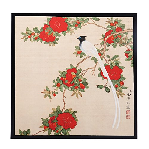 INK WASH Ready to Hang Framed Claborate-style Chinese Red Peony King Painting Bird and Flower Floral Wall Art Paintings on Silk Alike Rice Paper for Living Room Wall Decor 13