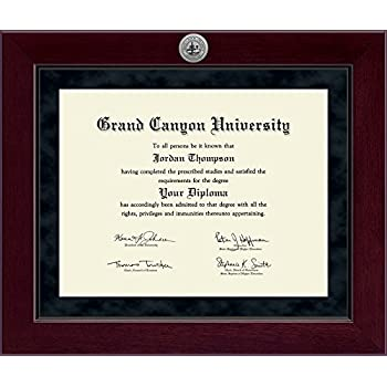 grand canyon university diploma frame solid hardwood cordova moulding with gcu medallion - Diploma Frame Size